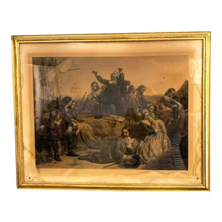 Antique French Lithograph in Gold Leaf Frame For Sale