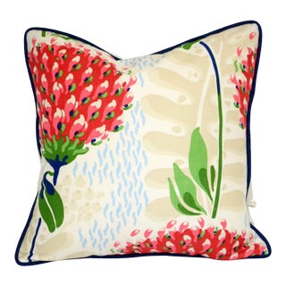 Thibaut Tiverton Red Floral Pillow For Sale