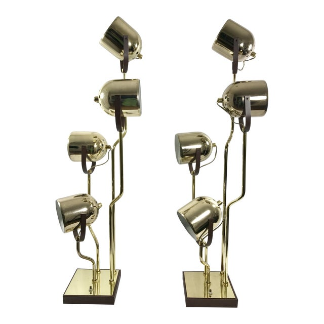 Clover Lamp Co. Brass Pivoting Head Lamp - A Pair For Sale