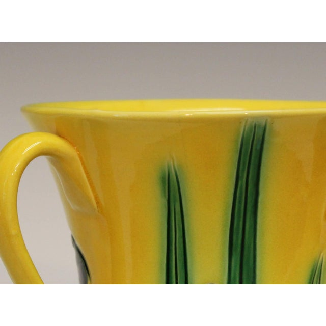 Green Antique Awaji Pottery Incised Iris Friendship Cup Vase For Sale - Image 8 of 11