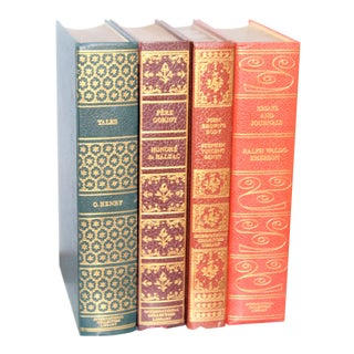 24k Gold Embossed Decorative Library Books - Set of 4 For Sale