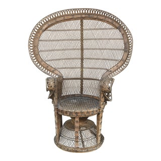 Late 20th Century Vintage Rattan Emanuelle Peacock Chair For Sale