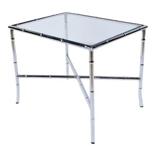 Chrome Bamboo & Glass End Table For Sale