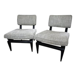 James Mont Bench Made Slipper Chairs- A Pair For Sale
