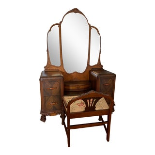 Early 1900s Art Deco Vanity With Chair For Sale
