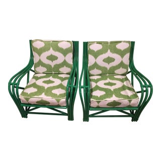 Green Rattan Upholstered Armchairs - Set of 2 For Sale