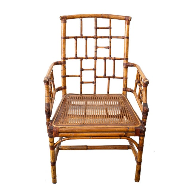 """A lovely pair of matching McGuire """"Madeline"""" bamboo chairs. In very nice condition, the cushion is an easy swap out if the..."""