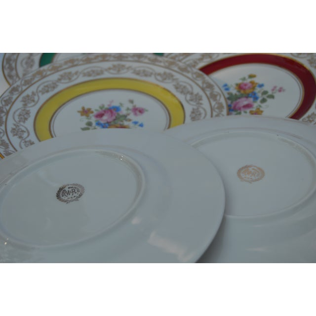 Metal Vintage Colorful Porcelain Plates- S/5 For Sale - Image 7 of 8