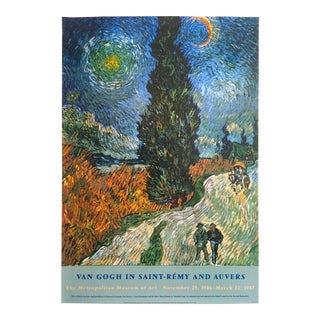 """Vincent Van Gogh 1987 Lithograph Print Met Museum Exhibition Poster """" Road With Cypress & Star """" 1890"""