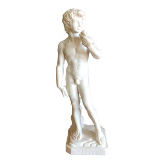 Vintage Classic Italian Resin Nude Statue of David