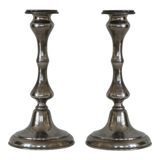 Antique Sheffield Candle Holders - A Pair For Sale