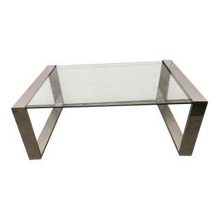 Mid-Century Modern Style Chrome & Glass Coffee Table