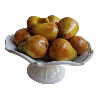 Vietri Italy Hand Painted Pears in a White Fluted Compote Centerpiece