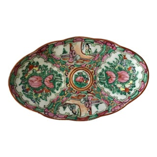 1950s Chinese Rose Medallion Oval Dish For Sale