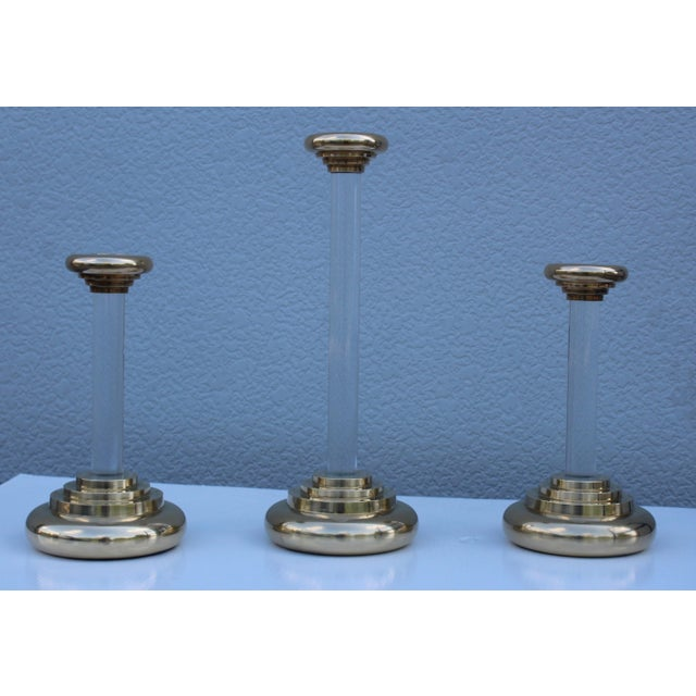 1980s Lucite and Brass Large Candleholders For Sale - Image 10 of 13