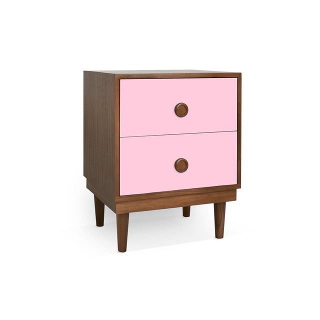 Modern Nico & Yeye Lukka Modern Kids 2 Drawer Nightstand Walnut Pink For Sale - Image 3 of 4