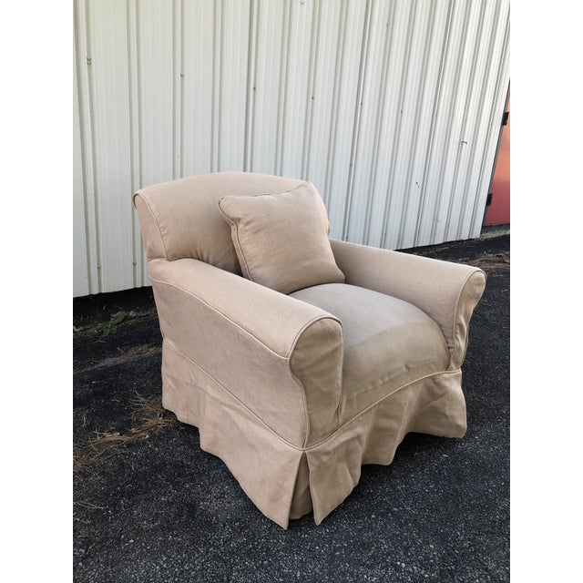 Textile George Smith Full Scroll Arm Chair With Slipcover For Sale - Image 7 of 11