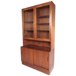 Vintage Scandinavian Modern Teak China Cabinet For Sale