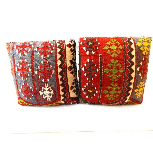 Antique Caucasian Kilim Stools - Pair For Sale - Image 7 of 8