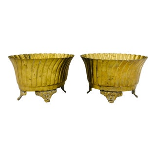 Pair Vintage Footed Brass Cache Pot Planters For Sale