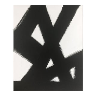 Abstract Black and White Slash No. 2 36 X 48 For Sale