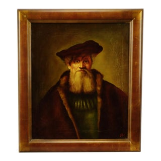 Authentic Rembrandt and Golden Age Style Oil on Canvas Portrait Painting by Dutch Master Artist Edgar Kooi - Artist Signed