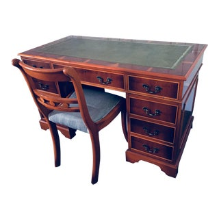 Vintage English Leather Top Cherry Wood Desk & Chair For Sale