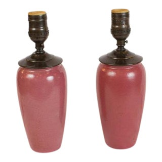 Pink Paul Revere Pottery Lamps - A Pair For Sale