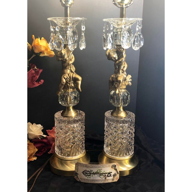 Gold Vintage Baroque Rococo Brass Putti Lamps with Crystals on Marble Hollywood Glam - a Pair For Sale - Image 8 of 13