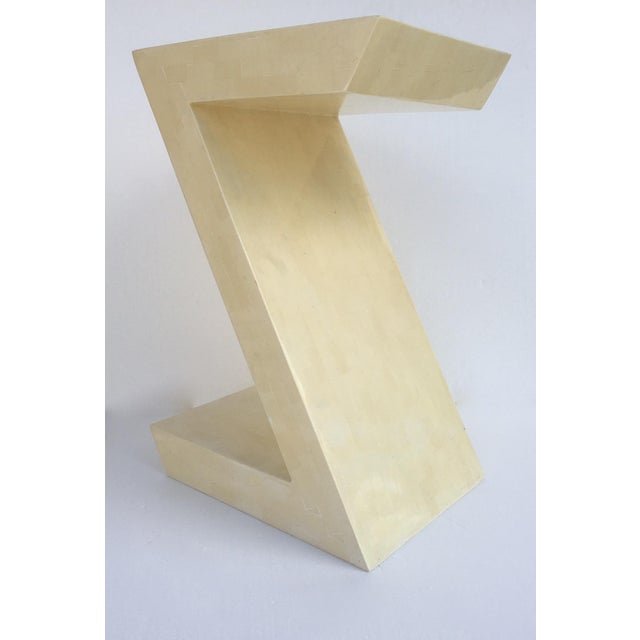 Vinatge; c. 1970s-80's Karl Springer attributed, Zig-Zag shaped, side/end table, a hand made, in an inlaid, tessellated...