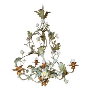 1870 Italian Tole Polychrome Porcelain Roses & Flowers Chandelier For Sale