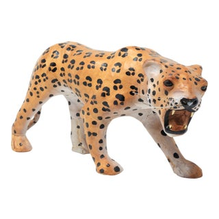 Vintage Leather Cheetah Figure For Sale