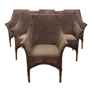 Palecek Bamboo + Wicker Arm Chair + Seat Cushion - Set of Six For Sale