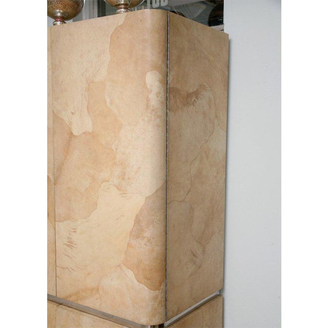 Rare Karl Springer Goatskin, Stainless Four-Door Tall Cabinet For Sale In Miami - Image 6 of 11