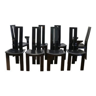 Italian Set of Pietro Costantini High Back Lacquered Dining Chairs For Sale