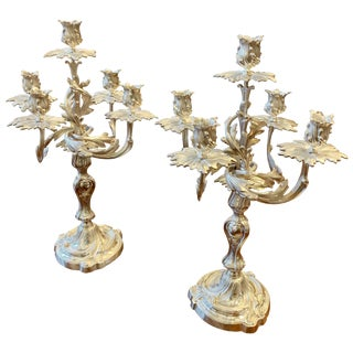 Pair of Silver Plated Louis XV Style Candelabra For Sale