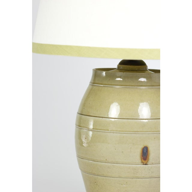 Ceramic Pale Green Glazed Spirit Barrel, English Circa 1880 Mounted and Wired as a Table Lamp With Linen Shade For Sale - Image 7 of 13