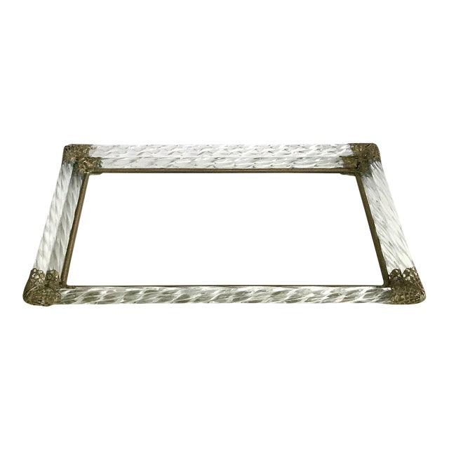 Antique Art Deco Murano Double Twisted Rope Glass Mirrored Vanity Tray Brass Filigree Corners