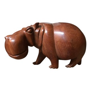 Solid Teak Hand Carved Hippopotamus Sculpture For Sale
