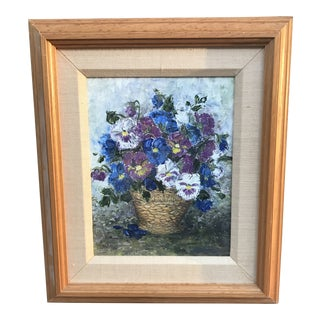 Late 20th Century Impressionistic Painting of Pansies, Framed For Sale
