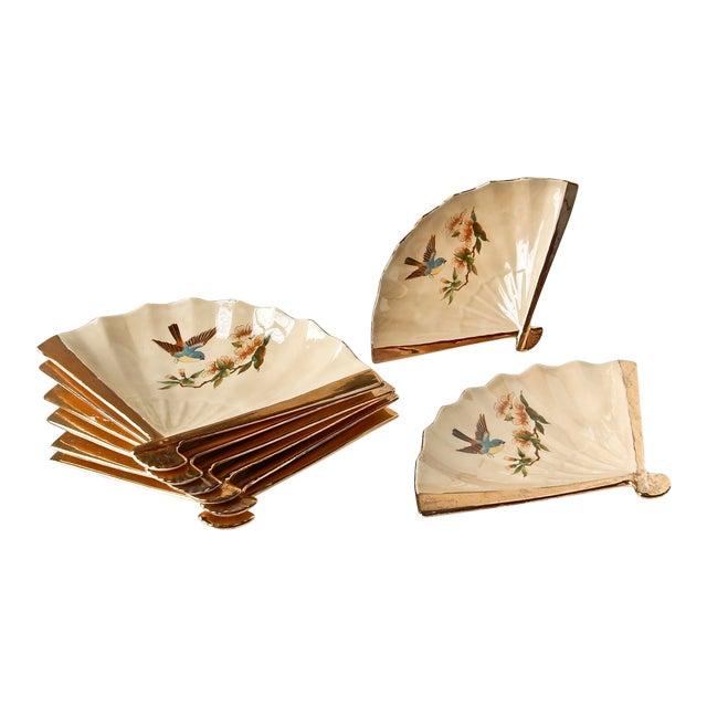 Vintage Fan Shaped Plates - Set of 8 For Sale