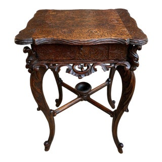 Antique French Carved Wood Jewelry Cabinet/Side Table For Sale