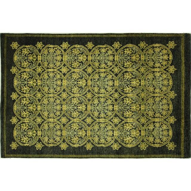"""Suzani Navy Blue Oushak Wool Rug - 6'1"""" x 9'1"""" - Image 1 of 10"""