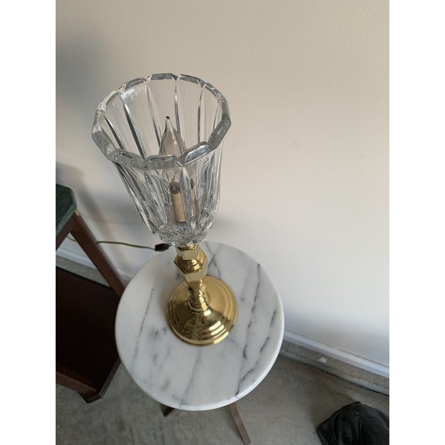 Mid-Century Modern Vintage Mid 20th Century Brass Plated Metal Candlestick and Cut Crystal Glass Table Lamp For Sale - Image 3 of 8