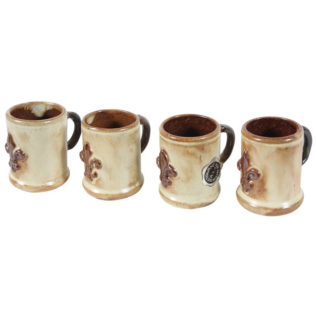 Geurin Belgium Pottery Expresso Mugs- Set of 4 For Sale
