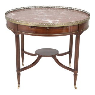 French Mahogany Marble Top Bouillotte Center Table with Brass Gallery For Sale