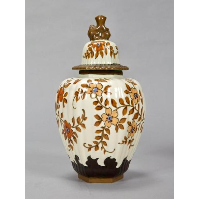 Gouda Pottery Tall Floral Gouda Vase with Monkey Lid For Sale - Image 4 of 7
