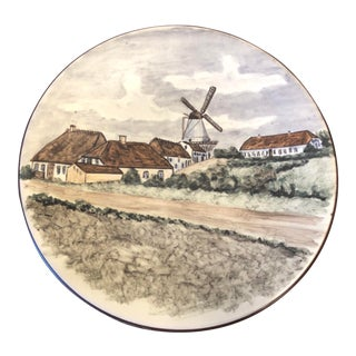 Emil Ruge Danish Majolika Pottery Plate by Lillian Milleck For Sale