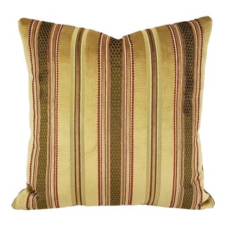 "Victorian Lee Jofa Prince Regent Stripe in Fawn Pillow Cover - 20"" X 20"" Gold, Red, and Moss Green Stripe Velvet Cushion Case For Sale"