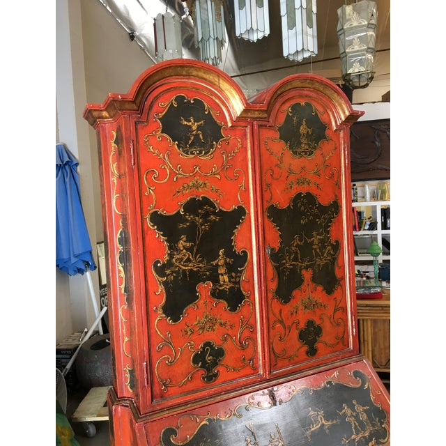 Red Hollywood Regency Secretary Desk Secretaire Bookcase W/ Chinese Motif For Sale - Image 8 of 11